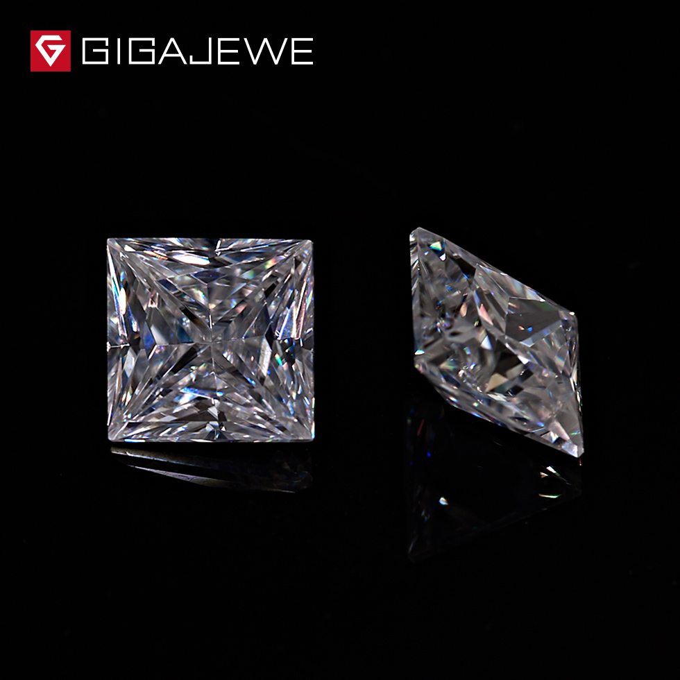 GIGAJEWE White DEF Color 0 5 2 0ct Princess Cut Moissanite Loose Stone For Jewelry Making