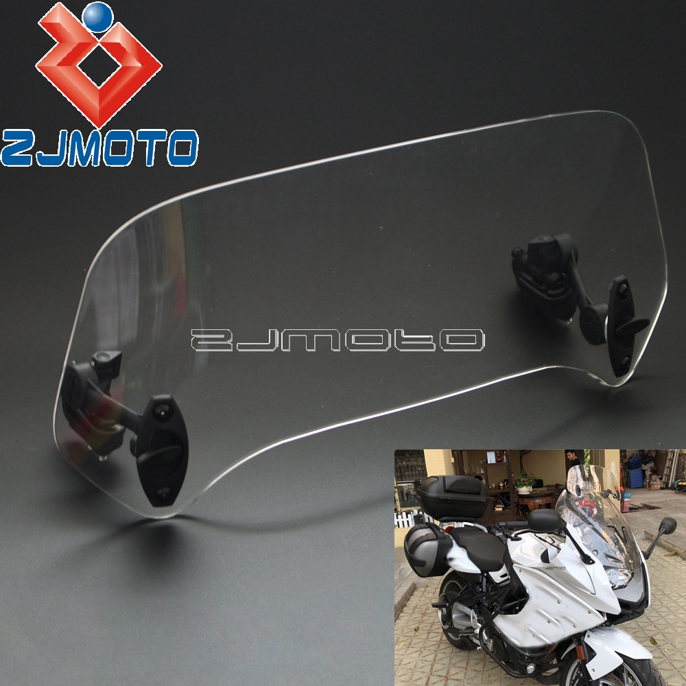 Motorcycle Adjustable Clip On Windshield Extension Spoiler Windscreen Air Deflector For BMW Honda Suzuki Yamaha Kawasaki Triumph Мотоцикл