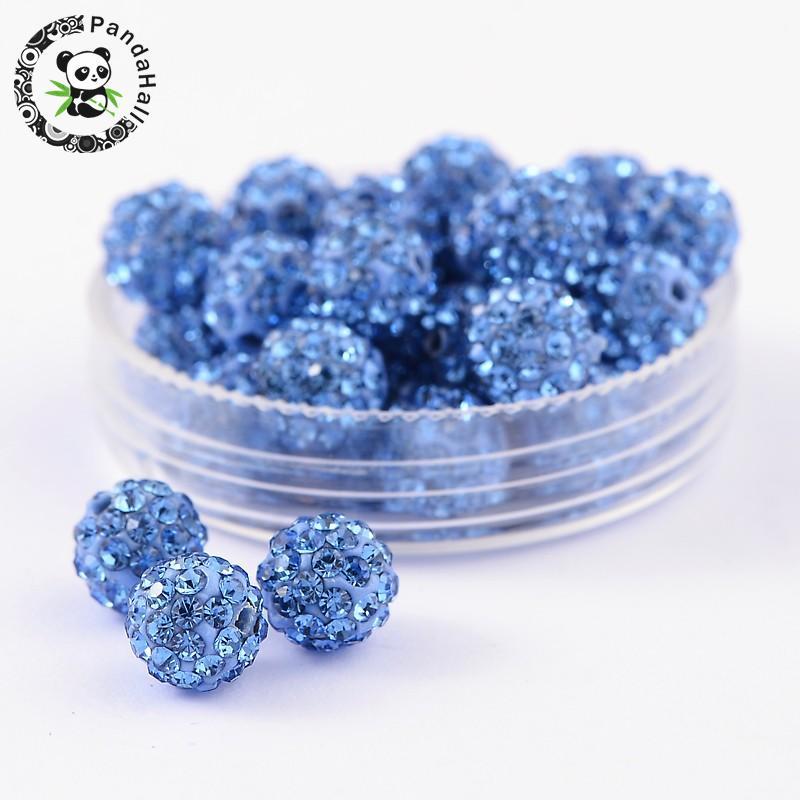 Polymer Clay Boule Disco Perles 12 mm Blanc//Argent 10 Pcs Strass À faire soi-même Bijoux
