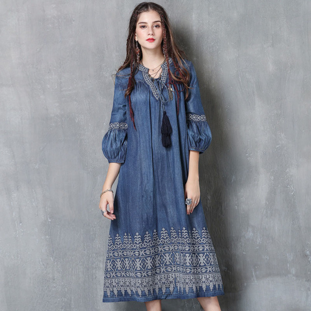 Women Dresses Folk-custom Ladies 2018 Party Elegant Club Summer Vintage Denim Evening Embroidery Gothic Plus Boho Size Dress