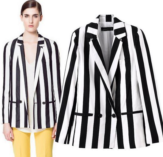 European Brand Design Women Slim Blazer Coat Black White Striped Suits Jackets Female Long Sleeve Casual Tops - Fashion World's store