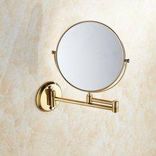 Free Доставка Модные Brass Однослойный Аксессуары для Ванной Комнаты макияж круглый медь зеркало BR-6738