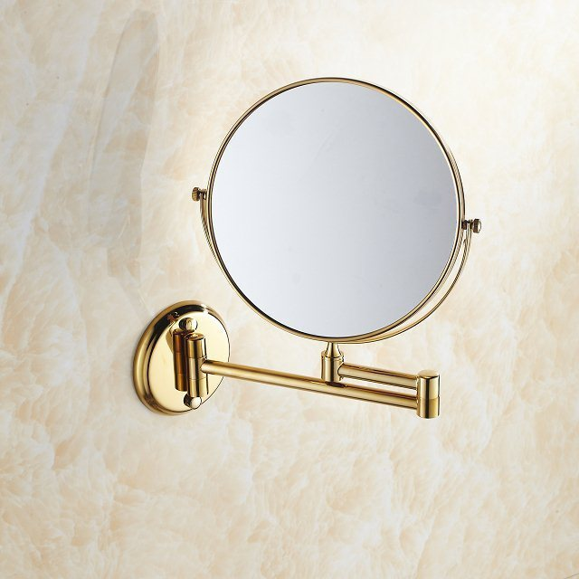 Free Shipping Fashionable Brass Single Layer Bathroom Accessories  makeup round copper mirror BR-6738