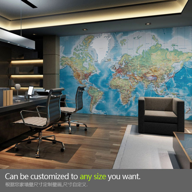 Free shipping Large world map mural wallpaper personalized custom