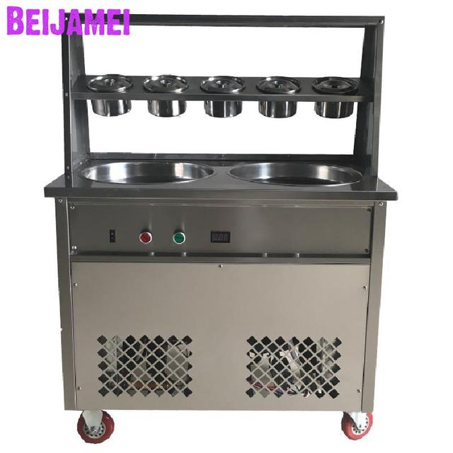 BEIJAMEI Big Pan Commercial Ice Cream Makers 50*2.5cm double Round Pan Ice Cream Roll Machine with 5 buckets