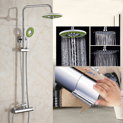 Chrome Polished Rainfall Solid Brass Shower Bath Thermostatic Shower Faucet Set Mixer Tap With ABS Green Hand Sprayer Wall Mount free shipping cheap discount brass shower faucet set thermostatic valve control mixer tap with hand shower wall mount zr1001