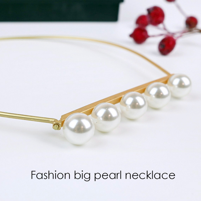 eManco Trendy Simple Collar & Torques Necklace for Women & Girls Simulated Pearls Metal Style Necklace Fashion Jewelry