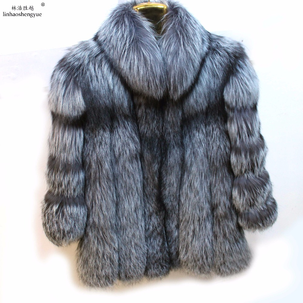 Linhaoshengyue inverno delle donne di modo naturale Silver Fox cappotto di pelliccia delle donne con il collare del basamento, vera pelliccia di volpe cappotto