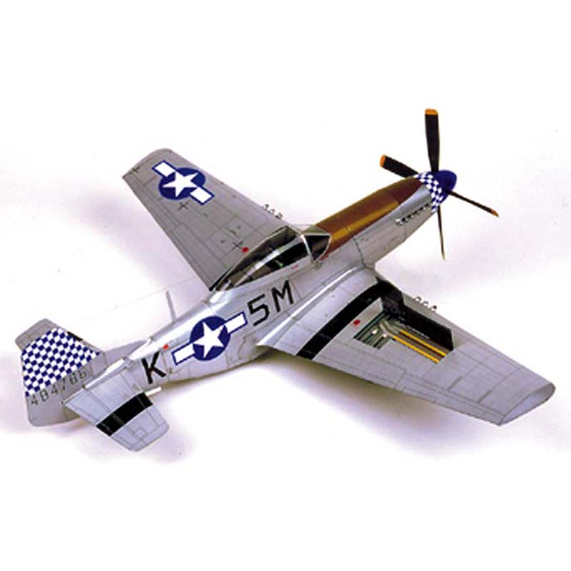 1:24 Scale DIY Paper Model P-51D Mustang Aircraft Pepercraft Military Funs Gifts Boy Birthday Christmas Presents Puzzle Game