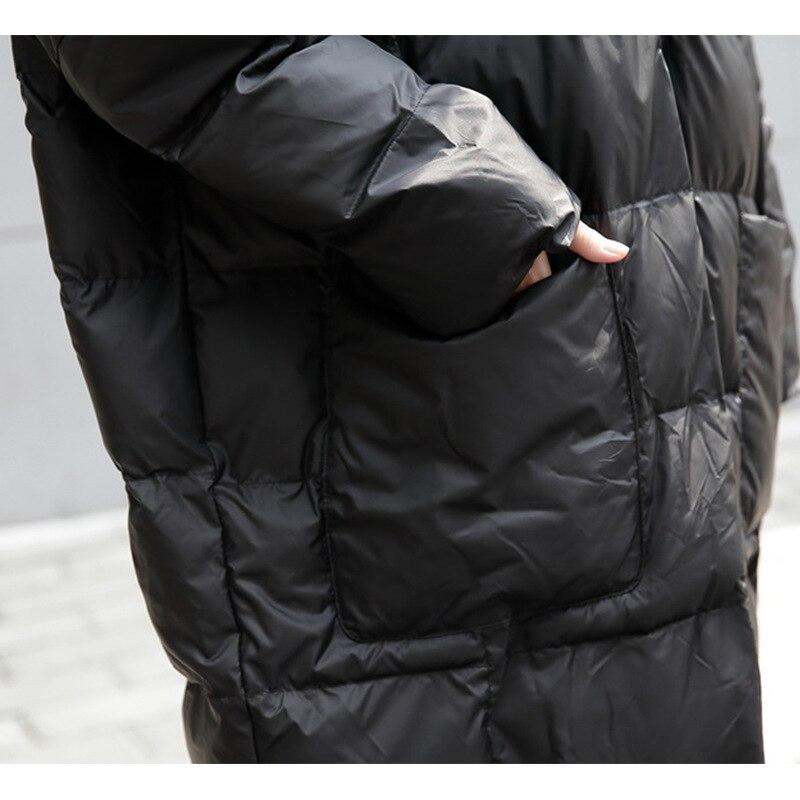 Женская зимняя куртка на подкладке из хлопка с капюшоном в европейском стиле, длинное Свободное пальто большого размера A678, 2019 - 5