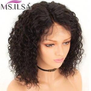 Peruca curta frontal de cabelo humano, perucas para mulheres cabelo encaracolado bob frontal cabelo remy brasileiro