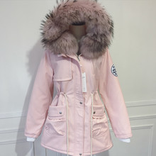 2016 новый зимний розовый большой енот меховой воротник от талии утолщенной комбинезон Агнец Шуба Куртка DHLfree доставка