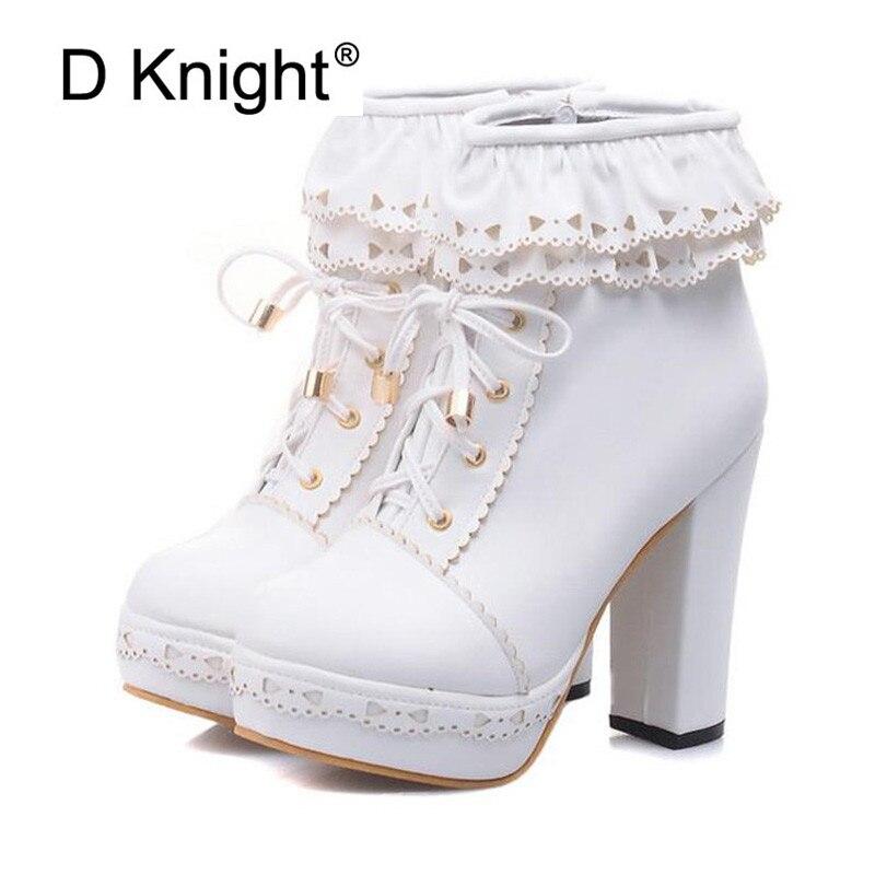 Botas de invierno de tacón alto para mujer, zapatos de Lolita con plataforma, tacones gruesos, botas de tacón alto, botas de motocicleta para mujer-in Botas hasta el tobillo from zapatos    1