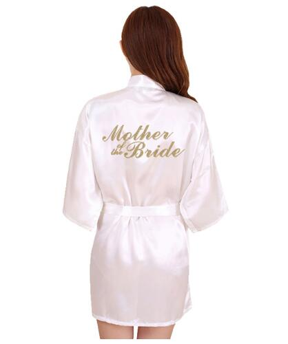 RB91 2017 Fashion Silk Bride of Mother Robe with Gold Letter Sexy Women Short Satin Wedding Kimono Sleepwear Get Ready Robes(China)
