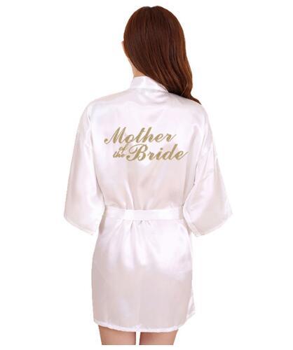 RB91 2017 Fashion Silk Bride of Mother Robe with Gold Letter Sexy Women Short Satin Wedding Kimono Sleepwear Get Ready Robes