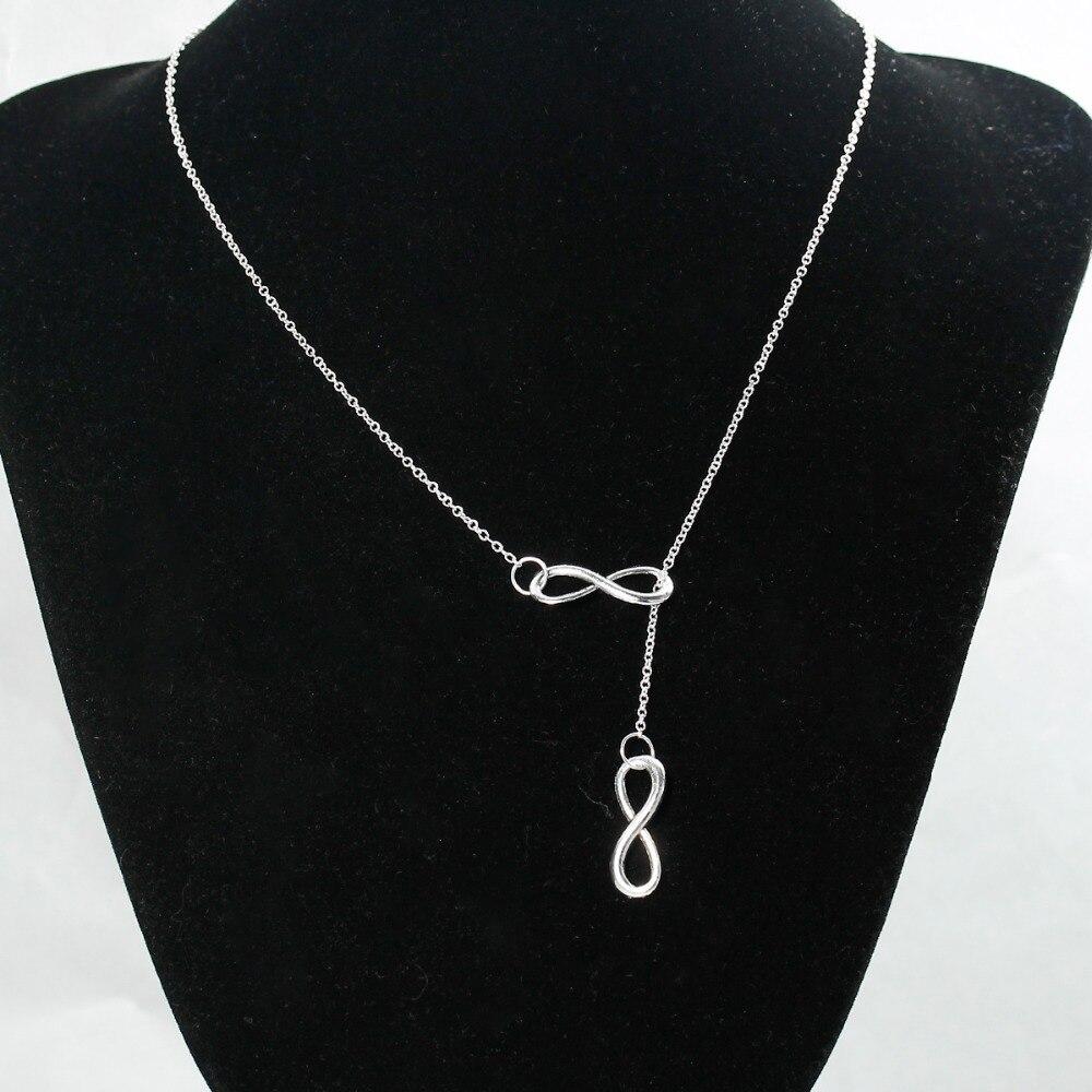 Doreen Box Hot nový styl nekonečná láska stříbrná barva přívěsek náhrdelník móda osm 8 symbol nekonečna pro ženy šperky 49,8cm