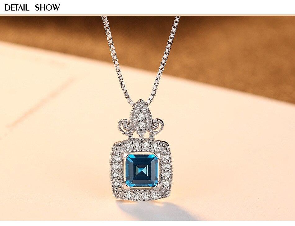 S925 collier en argent sterling pendentif en pierres précieuses boutique de luxe dames collier HS07