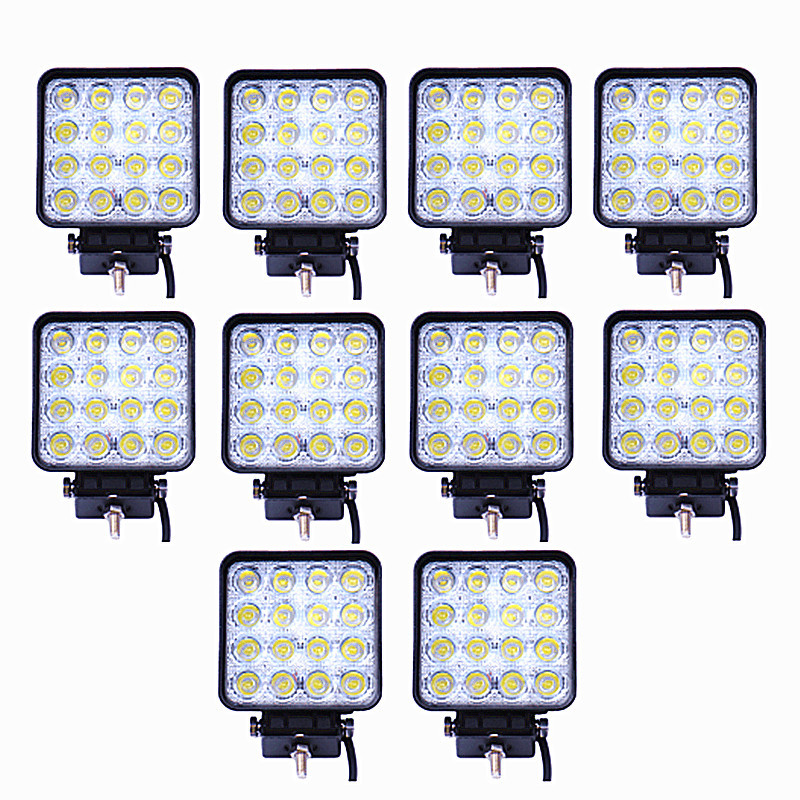 10PCS/Lot 48W Car Spot Worklight Head Lamp Truck Motorcycle Off Road Fog Lamp Tractor Car LED Headlight Work Lights Square/Round