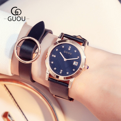 GUOU Luxury Brand Girl Quartz Watch Women Watches Casual Leather Ladies Dress Watches Women Clock Montre Femme Relogio feminino sinobi ceramic watch women watches luxury women s watches week date ladies watch clock montre femme relogio feminino reloj mujer