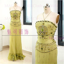 Olive Green Sheath Halter Floor-Length Crystal Chiffon Prom Party Formal  Evening Dress M 261581 bf170738b2dc