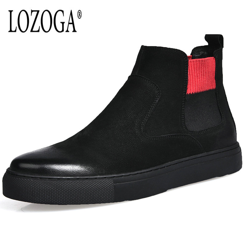Lozoga Luxury Suede Leather 2018 Autumn Winter Shoes Men Chelsea Boots Fashion Men's Boots Male Brand Ankle Boots Warm for Cold lozoga new men shoes fashion boots ankle 100