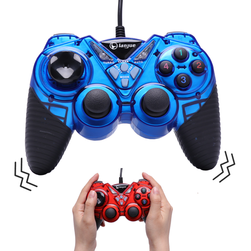 Wired Vibration Gamepad PC USB Controller <font><b>Joystick</b></font> Android Game Handle Double Shock for Computer <font><b>Laptop</b></font> Support Win/XP for Mac image