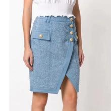 Runway Skirt Patchwork Denim Women's Asymmetrical Button Top-Quality Designer