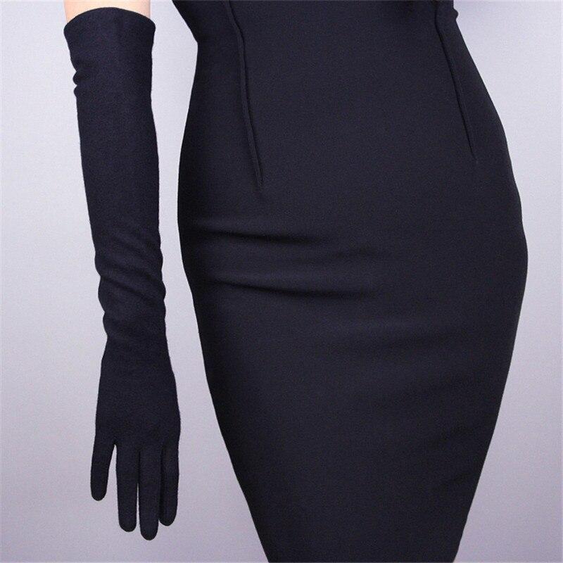 Cashmere Gloves Long Section 50cm Wool Black Over Elbow Elastic Female Vintage Evening Vestido De Noche Gloves WYR03