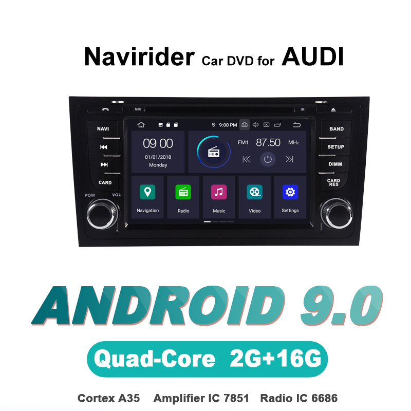 Navirider OS 9.0 Car Android Player For <font><b>AUDI</b></font> <font><b>A6</b></font> S6 RS6 stereo car radio <font><b>gps</b></font> <font><b>navigation</b></font> bluetooth TDA7851 Amplifier sound System image