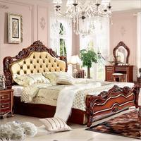 Высокое качество европейские антикварные кровать французская кровать 1.8 м кровать p10222