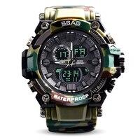 Novo 2017 De Quartzo Homens Relógio Dual Time Digital Camo Homem Relógios desportivos Homens S Choque Militar Do Exército Reloj Hombre LEVOU relógio de pulso