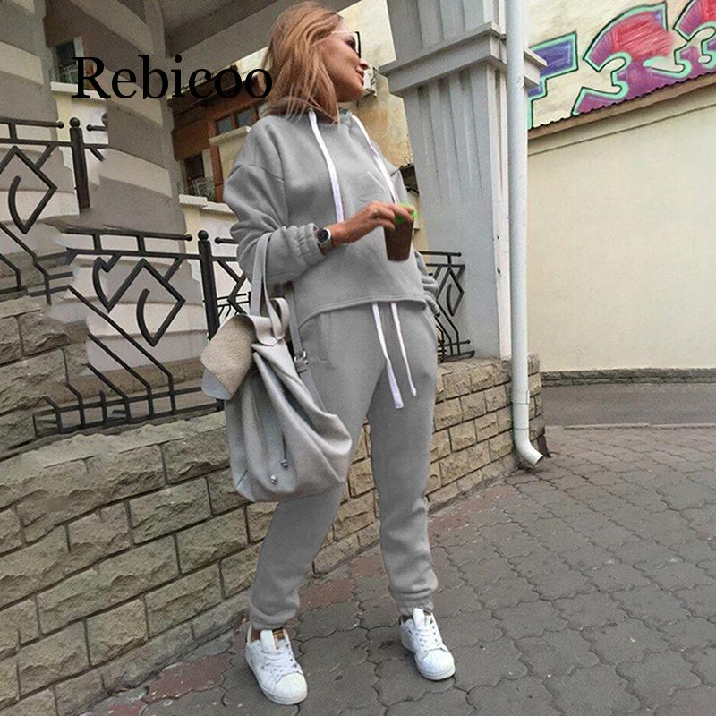 Rebicoo 2pcs Set Hoodies Loose Hooded Tops Sweatshirt+Solid Long Pants 2 Pieces Sets Women Clothing Suits Female Tracksuit
