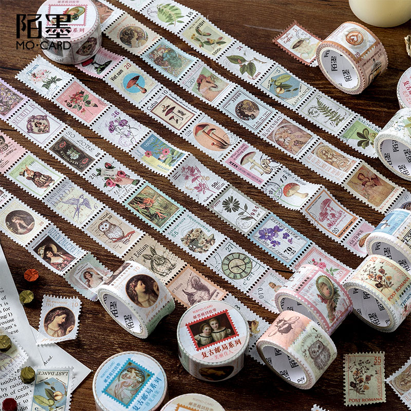 A Lot Retro Stamp Series And Paper Tape Creative Diy Handbook Coffee Plant Decorative Material Sticker Tape