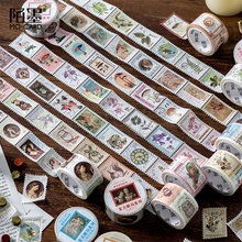 A Lot Retro Stamp Series and Paper Tape Creative Diy Handbook Coffee Plant Decorative Material Sticker