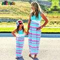 Filha Da Mãe Vestido De verão Triângulo Impressão de correspondência mãe filha roupas Família olha Mãe E Filha mãe e filha vestido ropa