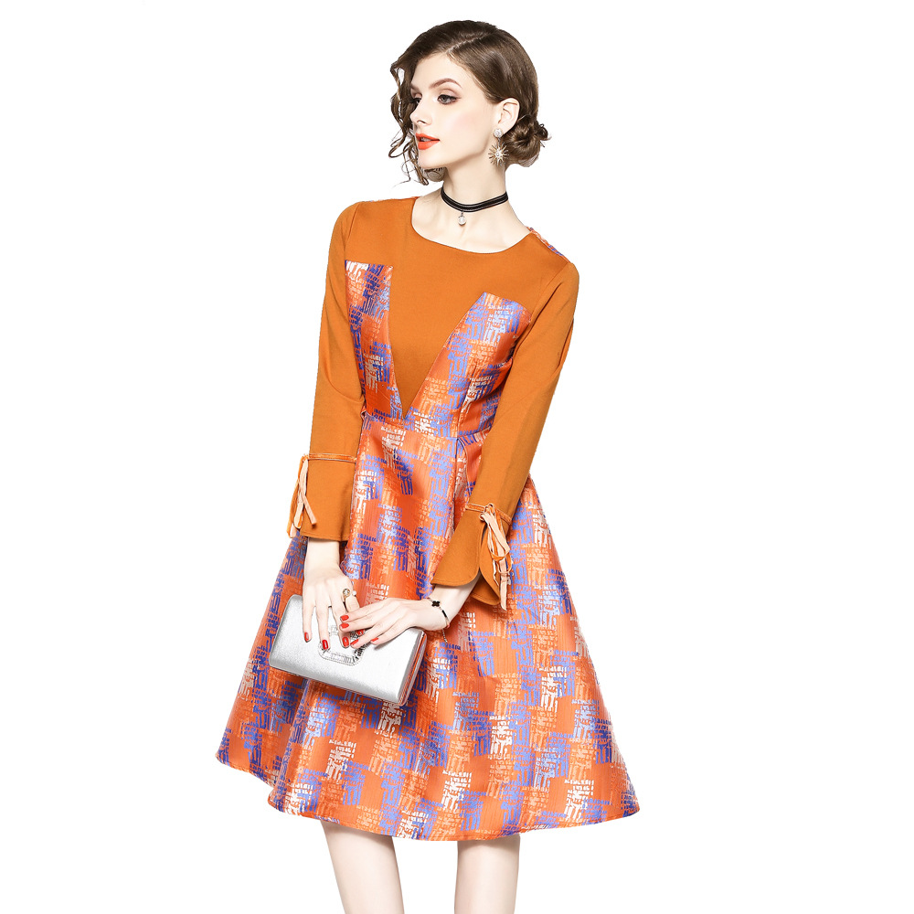 Nouvelle Manches Hiver cou O Casual Flare ligne Mode Élégante Imprimer Orange Big Femmes 2018 Automne Swing Robes A Long Robe 5wYxqA5EP