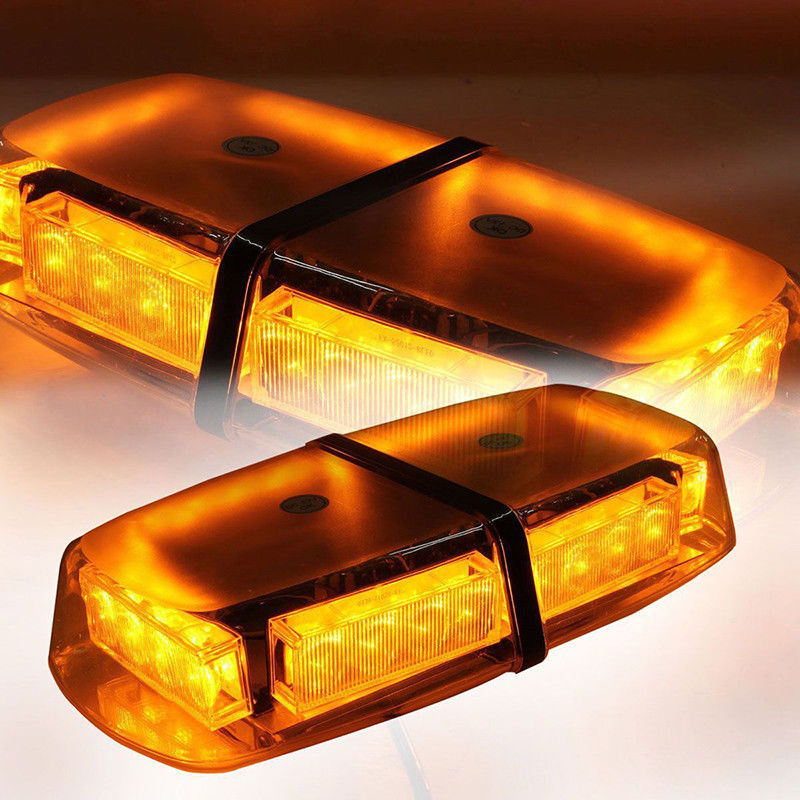 XYIVYG 24 LED Roof Emergency Hazard Flash Strobe Mini Light Bar Amber Magnetic Base Yellow Warning Flashing Lamp