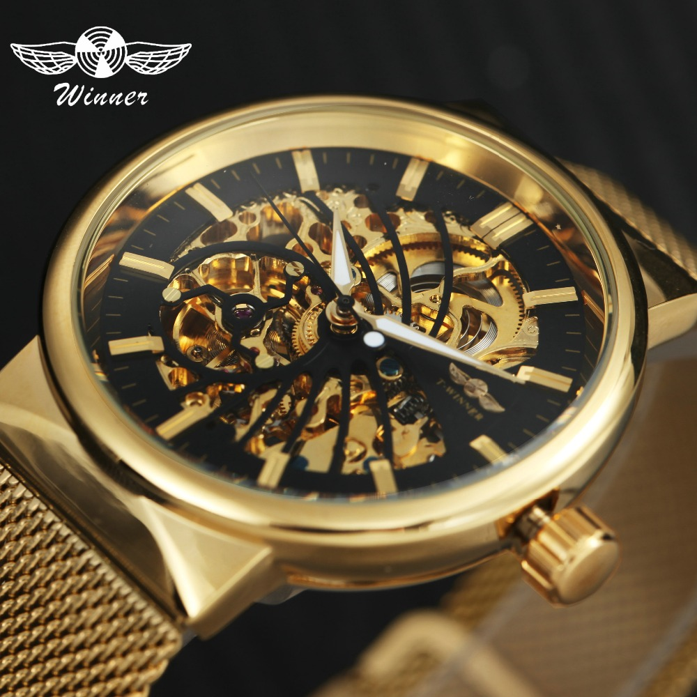 WINNER Top Brand Luxury Auto Mechanical Watch Men Golden Mesh Strap Bird Skeleton Dial Carved Movement Fashion Dress Wristwatch winner men fashion black auto mechanical watch leather strap skeleton dial square shape round case unique design cool wristwatch