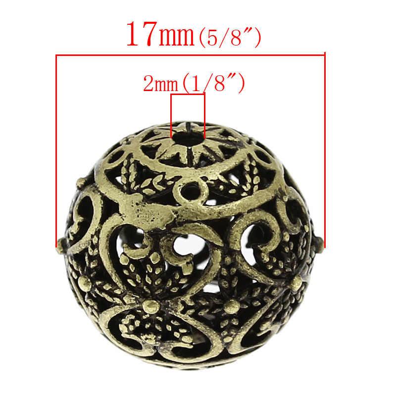 DoreenBeadsCopper A Filigrana Del Distanziatore Perline Rotonda Bronze Antico Del Fiore Hollow Intagliato FAI DA TE Fabbricazione Dei Monili Circa 17mm x 16mm, 1 pezzo