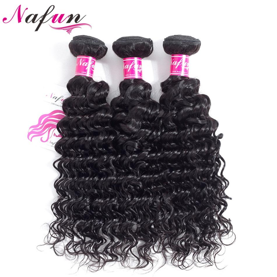 NAFUN Hair Peruvia Deep Wave 3 Bundle Deals 100% Non Remy Human Hair Weave Extension Natural Color 8-26 Inch