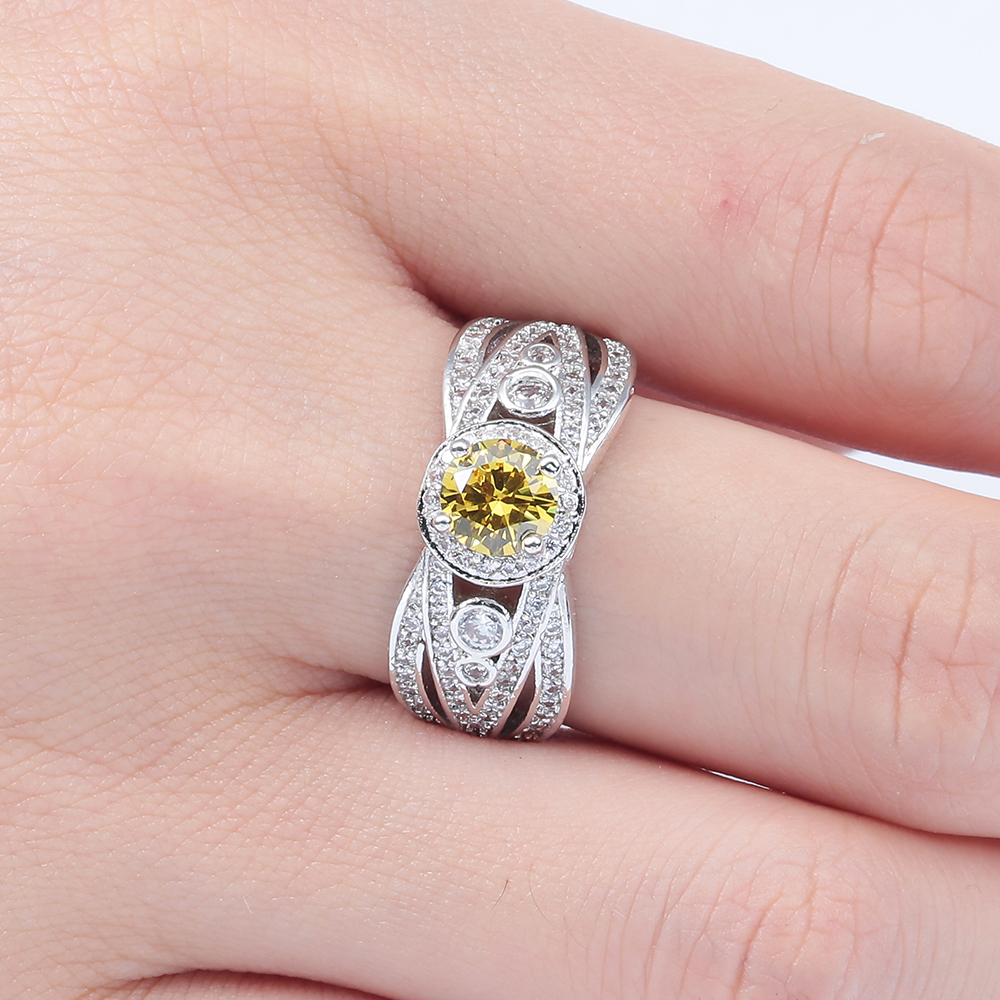 2017 promise Rings created yellow cz silver plated new jewelry ...