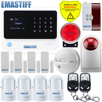 Free Shipping WIFI GSM Wireless Burglar Alarm NEW Smoke Gas Detector Wireless Outdoor Flash Siren For