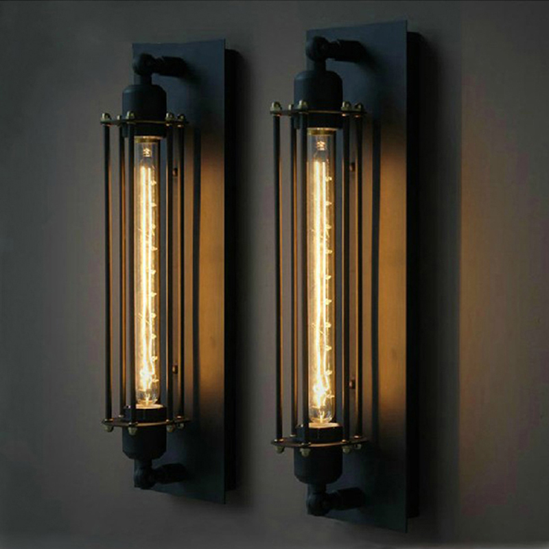 ФОТО Ecolight Vintage Country  Wall Lamps 1 Light Edison Bulb E27 E26 Black Painting Wall Sconces for Bed Room Loft Light
