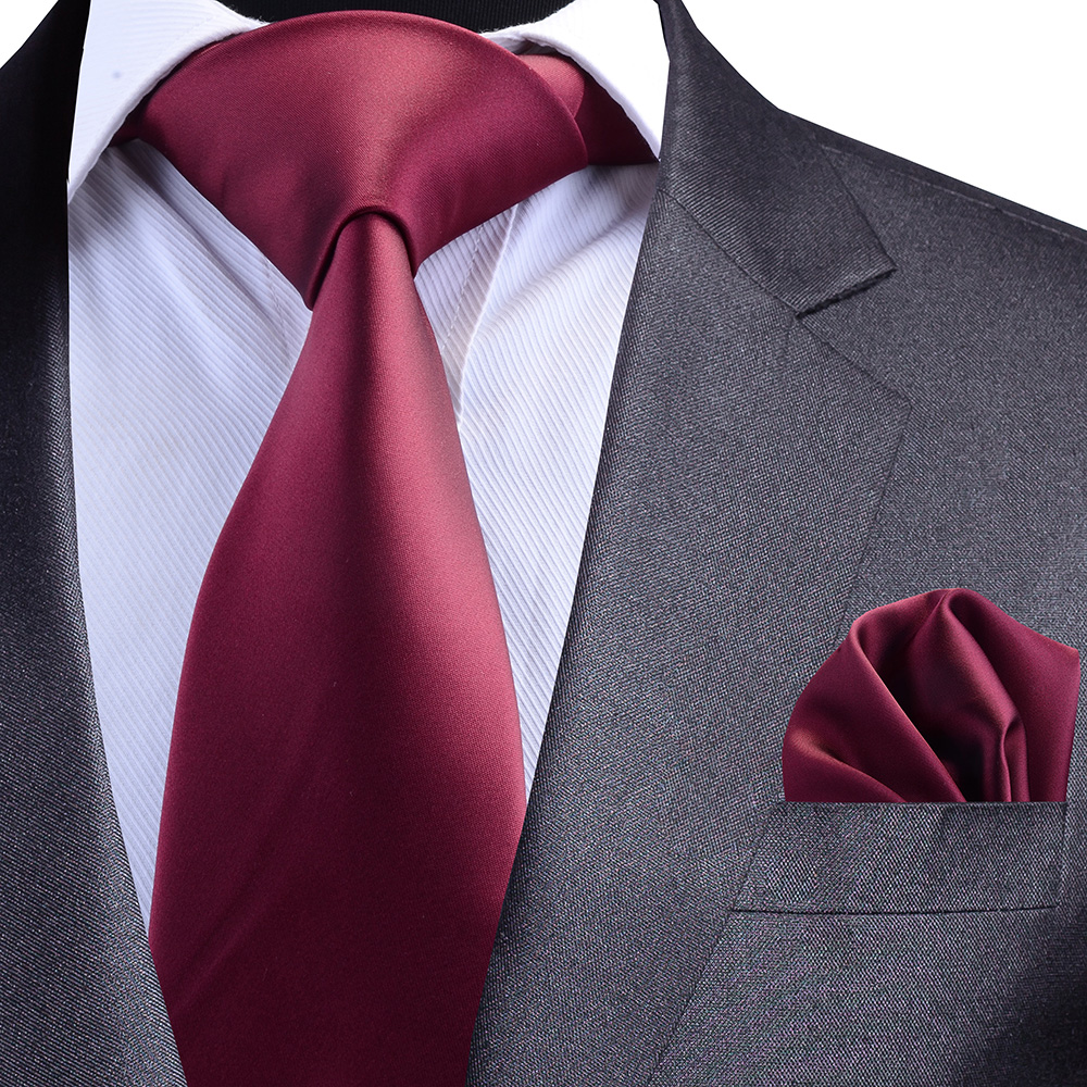 GUSLESON Solid Formal Tie Waterproof Necktie Pocket Square Set Business Wedding Classic Men's Silk Ties 8cm Corbatas Fashion