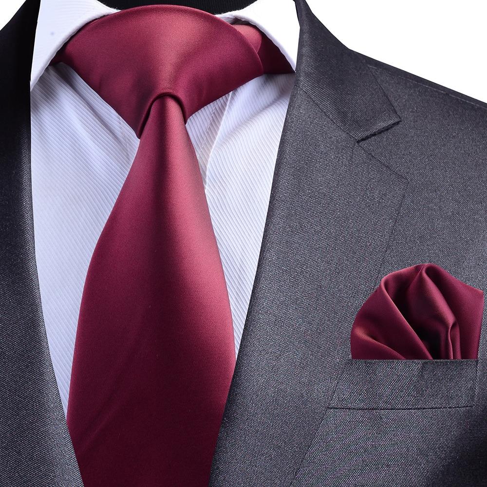 GUSLESON Solid Formal Tie Waterproof Necktie Pocket Square Set Business Wedding Classic Men's Silk Ties 8cm Corbatas Fashion