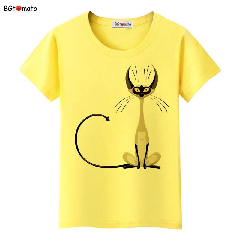 BGtomato super cool elegant cat t shirt women hot sale clothes lovely tshirt fashion top tees cool t shirt Brand kawaii shirt|cat t shirt women|brand t shirt women|fashion t shirt women - title=