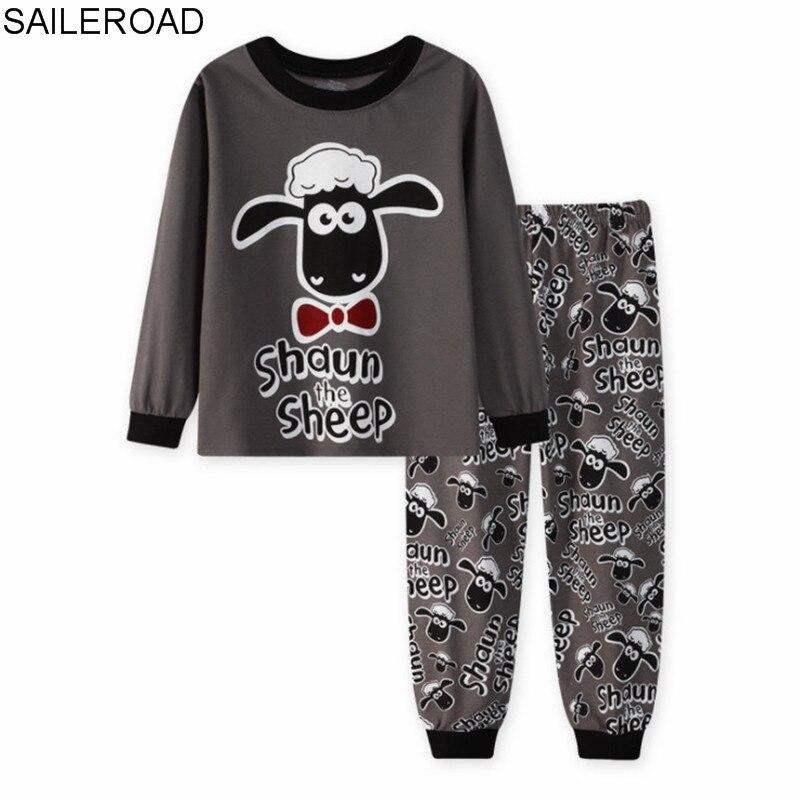 SAILEROAD Children   Pajamas   Cartoon Sheep Pyjamas   Set   Kids Pijama Infantil Boys Nightwear Cotton Girls Long Sleeve Sleepwear Suit