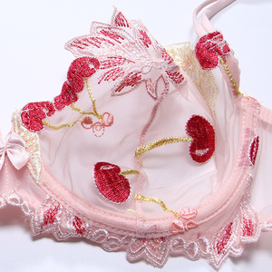 Image 2 - Womens underwear Pink Bra and Panties Set Transparent Bra Set  Lingerie Kawaii Cherry Embroidery Underwear Women Bra Unlined