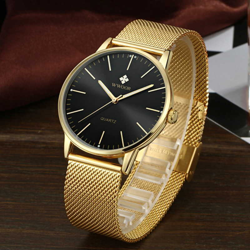 WWOOR Brand Luxury Men's Quartz Watch Men 50m Waterproof Ultra Thin Analog Clock Male Fashion Casual Black Sports Wrist Watches wwoor waterproof ultra thin date clock male stainess steel strap casual quartz watch men wrist sport watch 3 colors