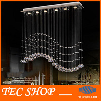 JH Modern Crystal Chandelier Hanging Wire Crystal Lamps LED Wave Crystal Light Bar Restaurant Living Room